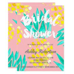 Modern bridal shower spring watercolor pineapples card