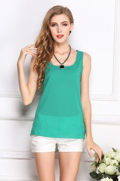 2017 Sommer Basic Shirt Chiffon Grün