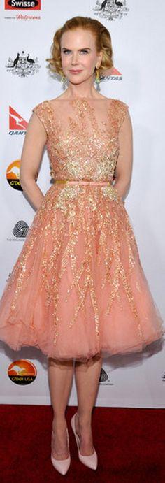 Nicole Kidman: Dress – Elie Saab    Jewelry – Fred Leighton    Shoes and bag – Bottega Veneta