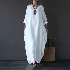 Dress - Women Printing Cotton Linen Loose Dress. Only available in white. Buy and dye whatever damn color you want.