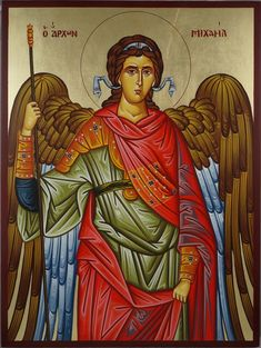 High quality hand-painted Orthodox icon of St Archangel Michael (Large). BlessedMart offers Religious icons in old Byzantine, Greek, Russian and Catholic style. Paint Icon, Archangel Michael, Religious Icons, Orthodox Icons, Tempera, St Michael, Beautiful Hands, Ikon, Catholic