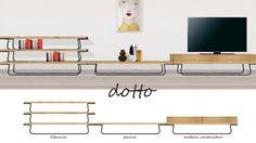 Dotto è un sistema per la zona giorno semplice, minimal, pulito, è flessibile, impilabile, ampliabile, è un sistema che con pochi pezzi, materiali e lavorazioni supporta la cultura, supporta carta,...