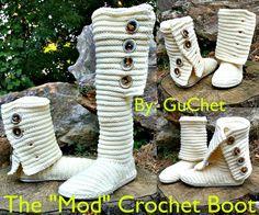 Crochet Boots, crochet shoes  https://www.etsy.com/listing/235609458/crochet-boots-the-mod-crochet-boot