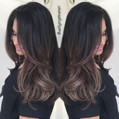 """164 Likes, 27 Comments - ✂️#hairbycrystinamari (@crystinamari) on Instagram: """"Darkened Aliah's #balayage to a natural ash brown. Welcoming her fall look early this year.…"""""""