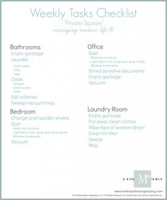 Weekly Chore List for Private Home Spaces | Geralin Thomas