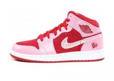 NIKE AIR JORDAN 1 MID PREMIUM GS ION PINK/GYM RED-WHITE #sneaker