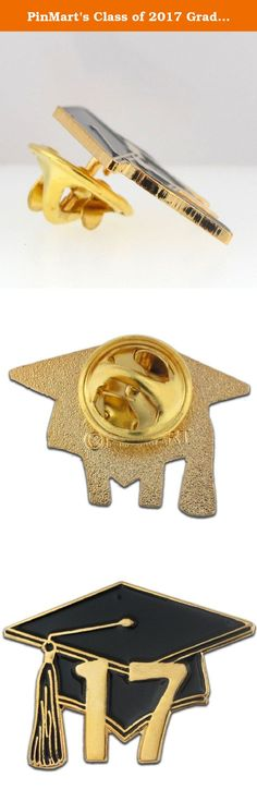 """PinMart's Class of 2017 Graduation Cap School Lapel Pin. This beautiful graduation cap pin is 1"""" die struck, gold plated, and is black enamel color filled. Honor the """"Class of 2017"""" with our graduation cap pins. Each pin is hand polished, includes a clutch back and is individually poly bagged."""