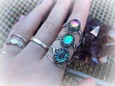 Moon Glow Colour Changing Matte Silver Plated Rings
