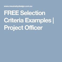 Free Selection Criteria Examples Project Officer