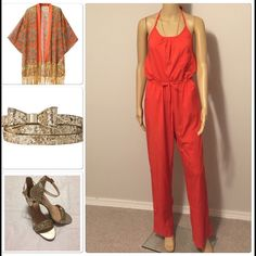 """Wide leg, halter top orange jumpsuit Halter top, wide leg jumpsuit, with tie waist, perfect for just about anything, length is 58.5"""" by adjustable with halter tie, inseam is 30"""", armpit to armpit is 17"""" across waist measures 18"""" across at widest, has side pockets. Shoes are located in my closet Boutique Pants Jumpsuits & Rompers"""