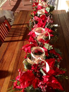 Christmas centerpiece made from 20 inch wooden boxes, silk flowers and mason jar candles Ball Mason Jars, Mason Jar Candles, Christmas Centerpieces, Christmas Decorations, Holiday Decor, Wooden Box Centerpiece, Christmas Wreaths, Christmas Tree, Holiday Tables