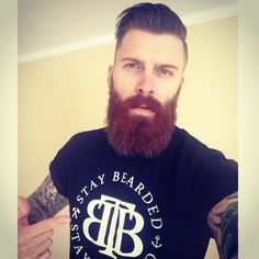 Levi Stocke - full thick darker red beard and mustache beards bearded man men mens' style tattoos tattooed hairstyle hair handsome ginger #staybearded #goodhair #beardsforever