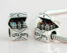 Exclusive Pandora Silver Crayons Box Charm Bead WOMEN'S JEWELRY http://amzn.to/2ljp5IH