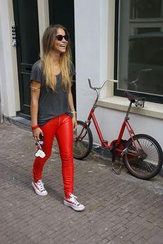 Leather pants MET jeans  2  American flag sneakers Converse