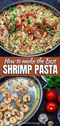 20 minutes or less is all it takes to make this bright garlic shrimp pasta recipe! Prepared Mediterranean-style with garlic, onions, white wine, and lemon juice, it is like fine dining at home! Tips and video included. Mediterranean Fish Recipe, Mediterranean Dishes, Mediterranean Style, Shrimp Pasta Recipes, Seafood Recipes, Dinner Recipes, Dinner Ideas, Seafood Meals, Salmon Recipes
