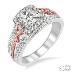 3/4 Ctw Diamond Engagement Ring with 3/8 Ct Princess Cut Center Stone in 14K White and Rose/Pink Gold