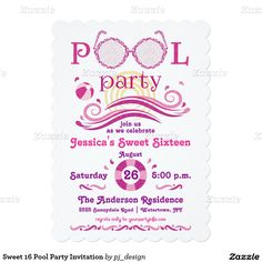 Sweet 16 Pool Party Invitation Parties Birthday Invitations Ideas