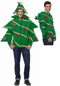 d9b063ac03 UGLY Christmas Tree Holiday Sweater Funny HOODIE Sweatshirt Adult Teen  Costume Ugly Christmas Tree