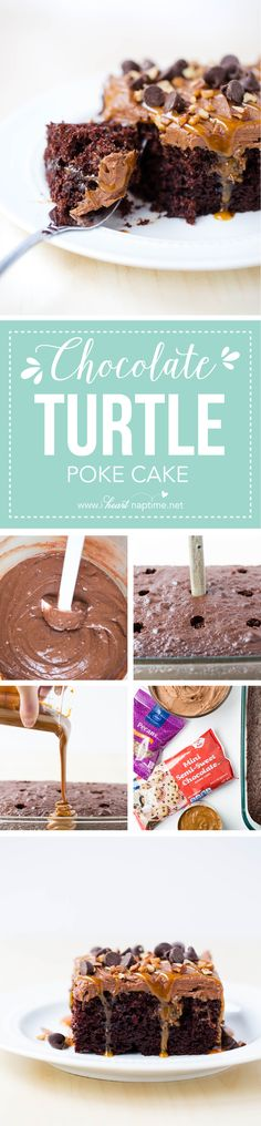 Chocolate turtle poke cake recipe - filled with ooey gooey caramel and topped with even more caramel, chocolate and nuts. Super easy and delicious! @kroger #kroger #krogering #spon