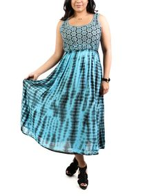 Look what I found on #zulily! Turquoise Tie-Dye Midi Maxi Dress - Plus Too #zulilyfinds