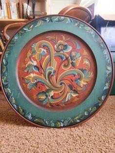 Gorgeous 20' Norwegian Telemark Rosemaling Plate by Irene Lamont