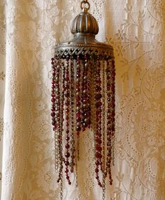 Beaded lampshade cast iron red and gold beads by immortalkraft