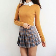 Image in my style collection by leti on We Heart It Cute Skirt Outfits, Preppy Outfits, Girly Outfits, Korean Outfits, Retro Outfits, Cute Casual Outfits, Fashion Outfits, Cute Fashion, Look Fashion