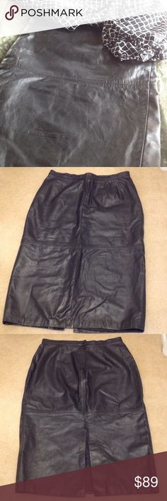 "Leather World  Vintage leather pencil skirt Scrumptious leather, with great detailing and a 13"" slit in the back. Has a snap closure with zippered back opening. Also lined with 100% polyester for a comfortable feel. Skirt is approx. 31"" in length. Leather World Skirts Pencil"