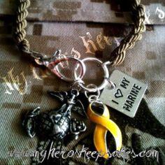 Marine Wife,Marine Girlfriend ..Desert Tan Boot Band Bracelet with Clasp includes EGA,Yellow Support Ribbon & I <3 My Marine Charm ...Military Jewelry-Marine Corp-  $10.00 plus shipping www.myheroskeepsakes.com www.facebook.com/myheroskeepsakes