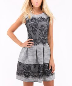 Look at this #zulilyfind! Gray Lace-Panel Fit & Flare Dress #zulilyfinds