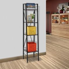 amazoncom langria 4shelf leaning bookshelf bookcase steel frame walnut diningsteel