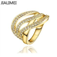 Rainy Jewel NEW R671-A High Quality Nickle Free Antiallergic Jewelry 18K Gold PlatedRing 7.0 >>> Visit the image link more details.