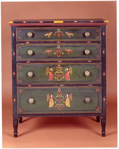 """Mahantongo Valley ~ circa """"Angels and Birds"""" decoration. Southern Furniture, Country Furniture, Classic Furniture, Paint Furniture, Furniture Making, Furniture Decor, Painted Chest, Painted Boxes, Primitive Furniture"""