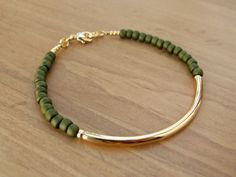 Gold Bangle Bracelet, Gold Tube Bracelet with Olive Green Seed Beads, Gold Bracelet, Beaded Bracelet
