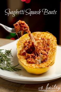 Spaghetti Squash Boats #glutenfree (2 med. spag squash, olive oil, onion, sea salt, pepper, garlic, ground meat, crushed tomatoes (adapt), oregano, basil, crushed red pepper, mozz cheese)