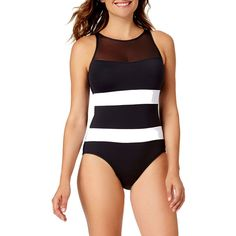 0f13de9086c54 Liz Claiborne Solid One Piece Swimsuit ( 43) ❤ liked on Polyvore featuring  swimwear