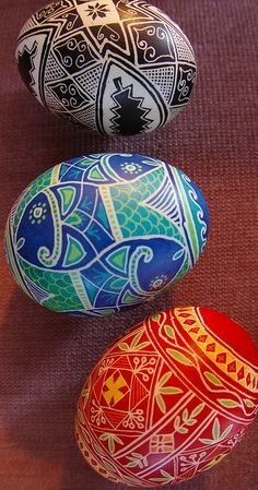Pysanky!!!  Ukrainian eggs - I actually bought the kit to make these (okay, to make crude wannabes), but I haven't used it yet.  I need to do that.