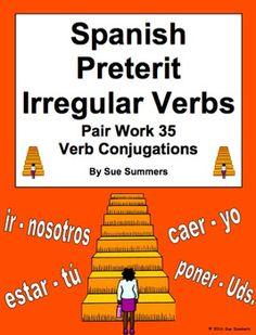 Spanish Preterit Irregular Verbs Pair Work Las Escaleras Activity and Quiz by Sue Summers