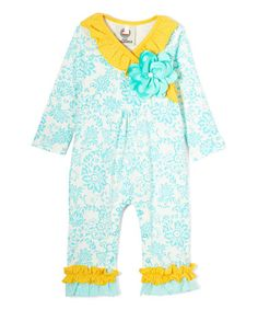 This Turquoise Floral Ruffle Playsuit - Infant is perfect! #zulilyfinds