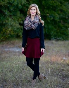 Who said a skirt can't be cozy and cute?  This pull-on skirt is a super soft sweater material in a deep maroon.  Looks great paired with any of your favorite plaid, leggings, or scarves this season.