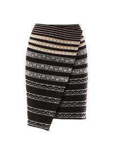 kenzo-black-ribbonembroidered-neoprene-skirt
