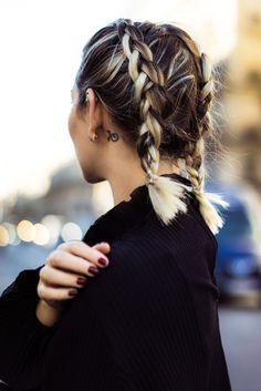 short hairstyles braids for short hair icy blonde pigtails double dutch brai Boxer Braids Hairstyles, French Braid Hairstyles, Braided Hairstyles, Updo Hairstyle, Hairstyle Ideas, Fashion Hairstyles, Braided Ponytail, Prom Hairstyles, Hair Colors