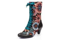 3787cbc07323 ... Leather Wedge Heel Military Calf Boots. maria alejandra · zapatos ·  Poetic Licence Lady Victoria Black Multi Tapestry Floral Lace Up Boots
