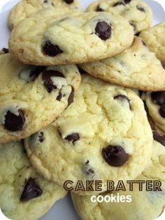 Cake Batter Chocolate Chip Cookies- the softest and yummiest cookies! SixSistersStuff.com #cookies #dessert by Raelynn8