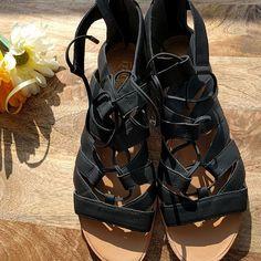 Franco Sarto Baxter Women  Open Toe Leather Black Gladiator Sandal | Clothing, Shoes & Accessories, Women's Shoes, Sandals & Flip Flops | eBay!