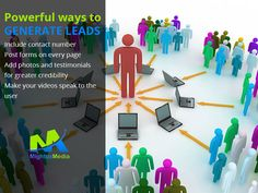Powerful ways to Generate Leads: •	Include contact number  •	Post forms on every page  •	Add photos and testimonials for greater credibility •	Make your videos speak to the user