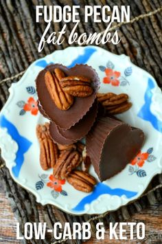 Keto Fudge Chocolate Pecan Fat Bombs - simple to make recipe that is Low Carb and delicious. It's sweet but there's no sugar!: