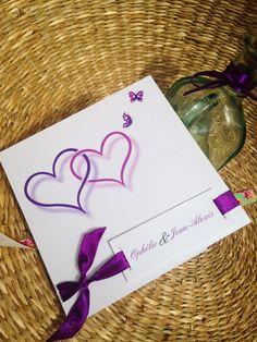 papeterie faire-part mariage violet élégant sobre romantique ruban violet nacré sur-mesure cœurs