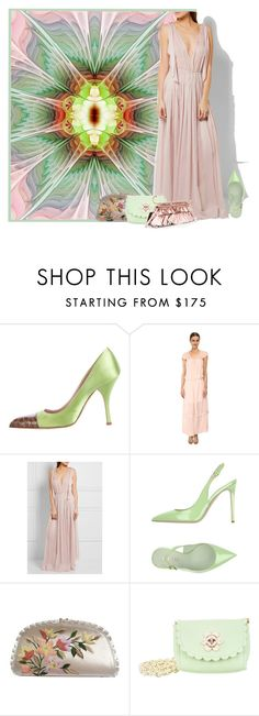 """Color Challenge: Green and Blush"" by yours-styling-best-friend ❤ liked on Polyvore featuring Prada, See by Chloé, Three Graces, Le Silla, Judith Leiber, Mulberry and Roberto Cavalli"