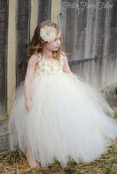 Ivory Cream Vintage Style Flower Girl Dress by FrillyFairyTales